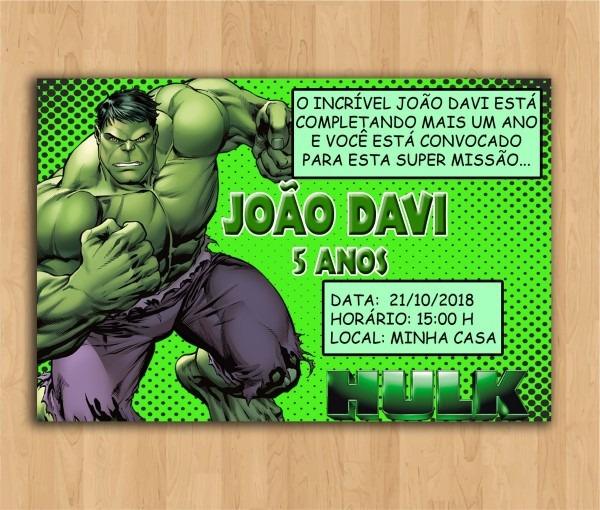 Convite digital personalizado incrível hulk
