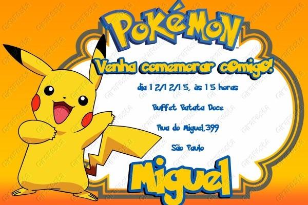 Convite digital pokemon no elo7