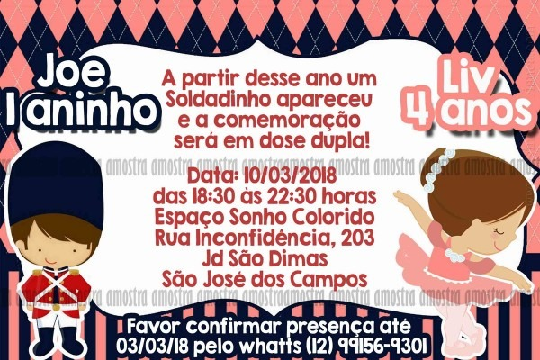 Convite digital soldadinho de chumbo e bailarina no elo7