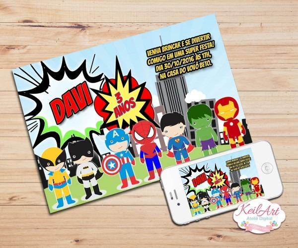 Convite digital super herois baby no elo7