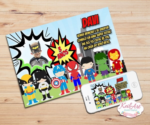 Convite digital super herois baby