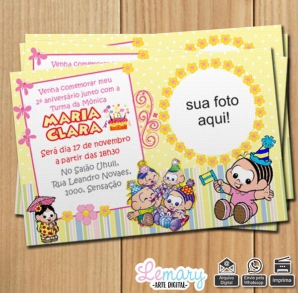 Convite digital turma monica baby mod 002 no elo7