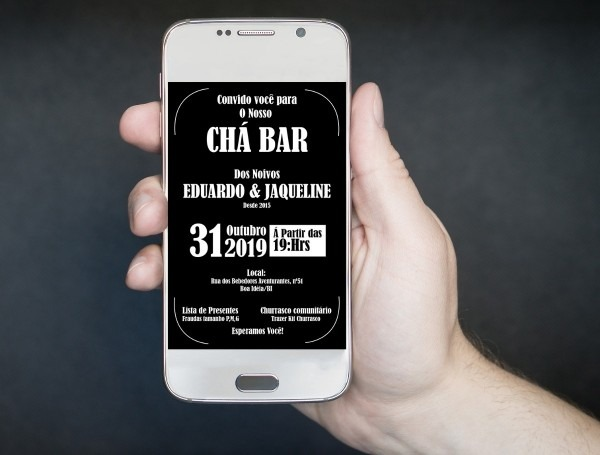 Convite digital virtual chá bar