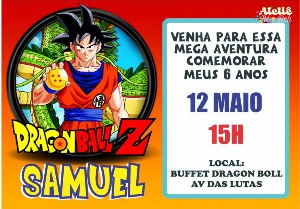 Convite dragon ball z no elo7