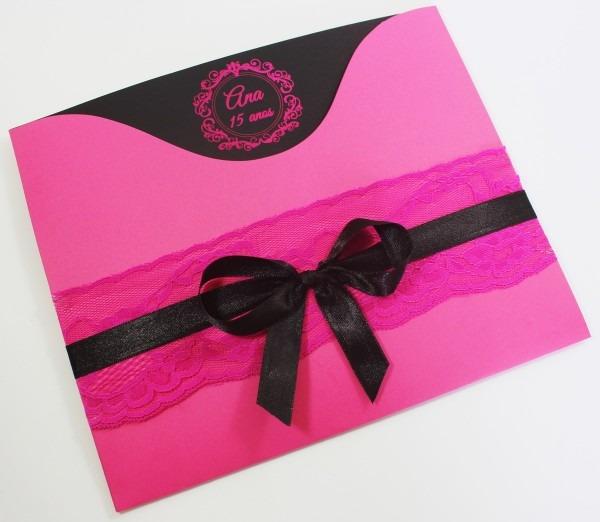 Convite el amor   rosa pink e preto no elo7