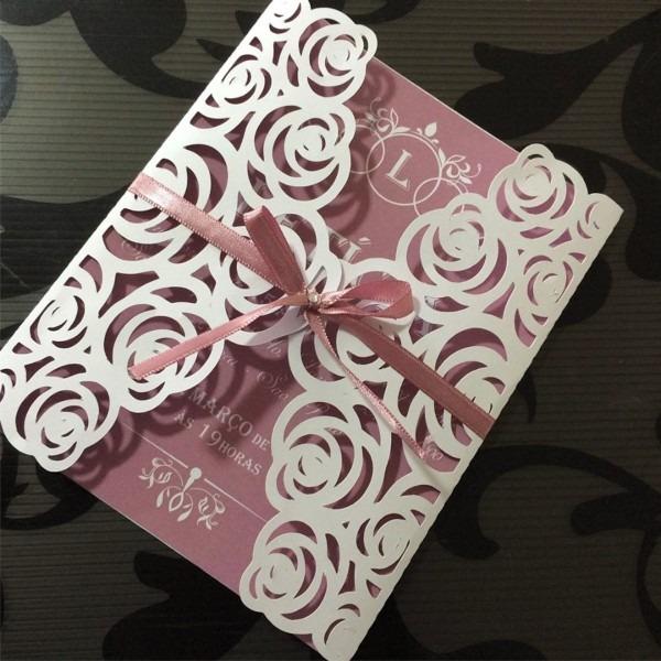 Convite envelope rendado floral no elo7