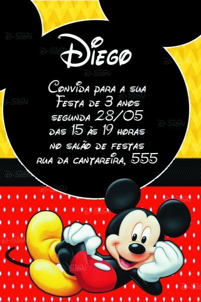Convite festa aniversário infantil digital mickey no elo7