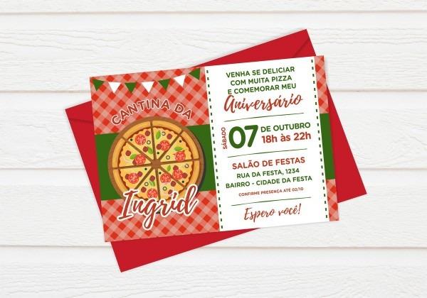 Convite festa da pizza