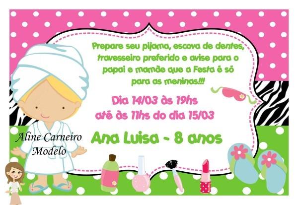 Convite festa do pijama no elo7