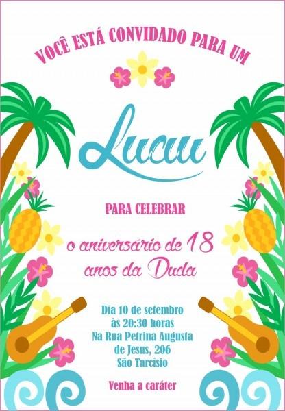 Convite festa hawaiana