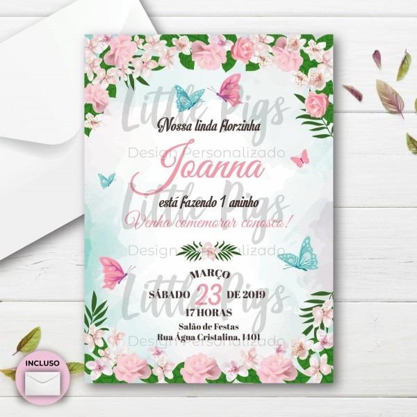 Convite festa jardim das flores 10 x 7 cm no elo7