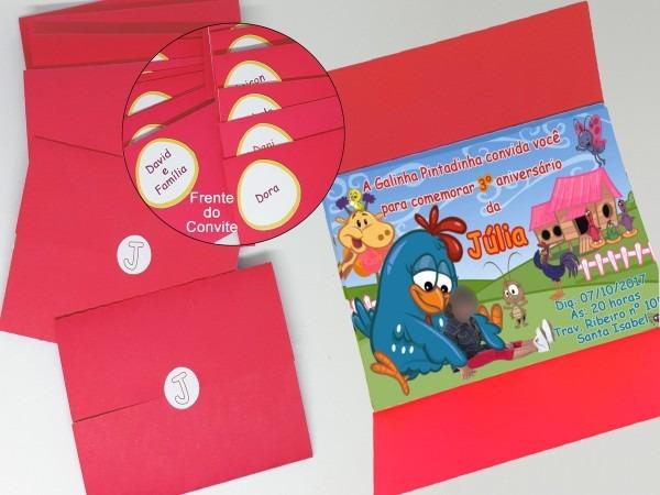Convite galinha pintadinha + envelope + adesivo + tag no elo7