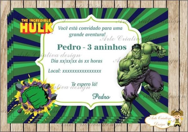 Convite hulk no elo7