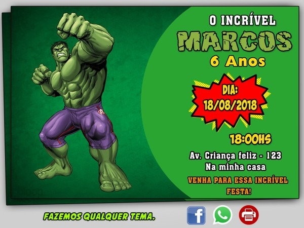 Convite hulk digital no elo7