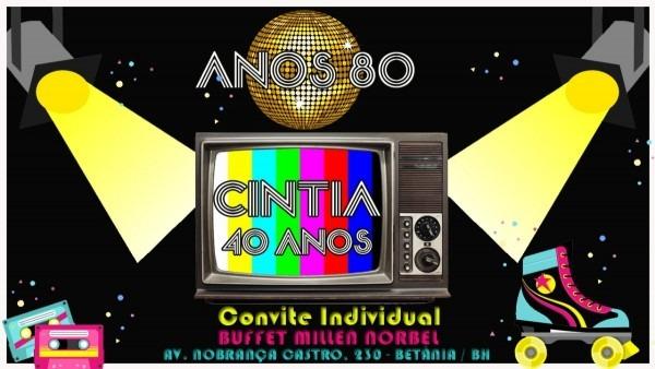 Convite individual digital para aniversário anos 80