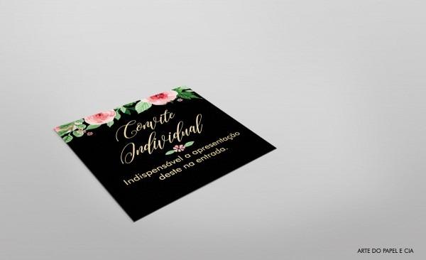 Convite individual  preto floral no elo7