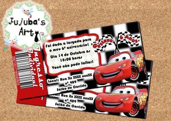 Convite ingresso carros no elo7