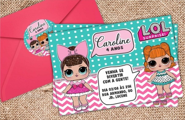 Convite lol + envelope + tag