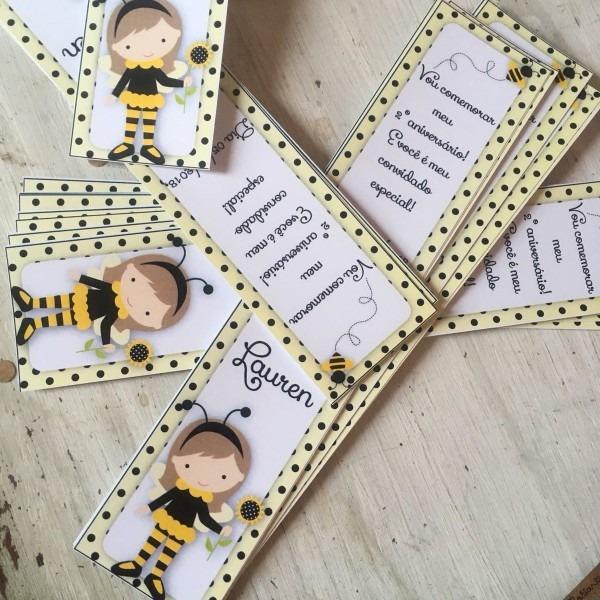 Convite marcador de livros abelhinha no elo7