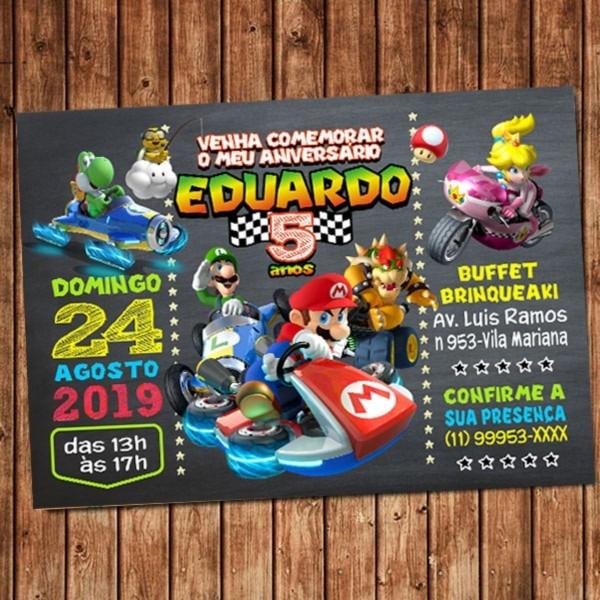 Convite mario kart digital aniversário no elo7