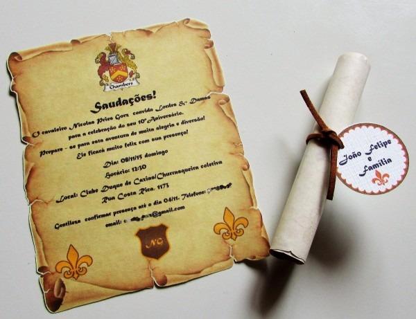 Convite medieval no elo7