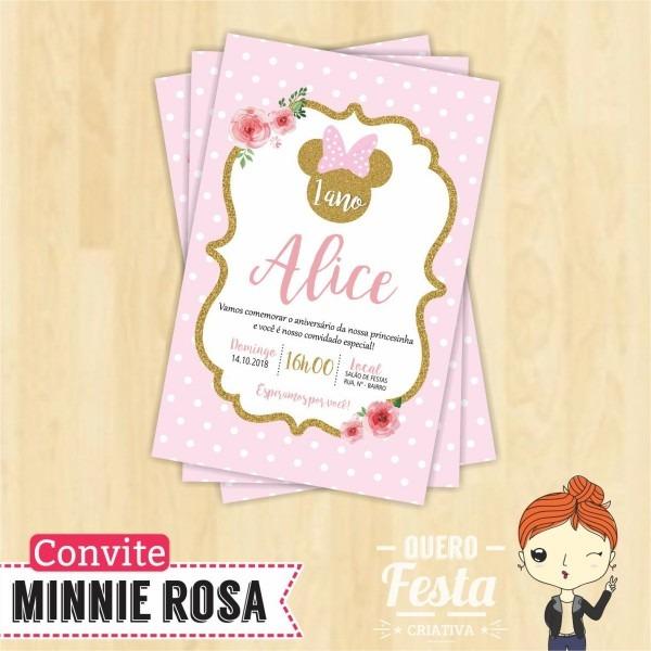 Convite minnie rosa 10x7 no elo7