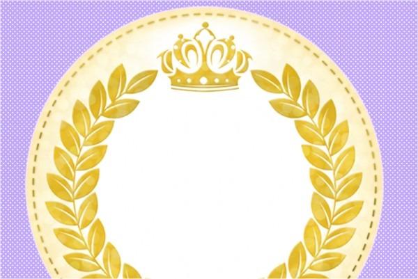 Convite, moldura e cartão coroa de princesa lilás