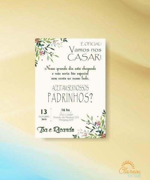 Convite padrinhos floral