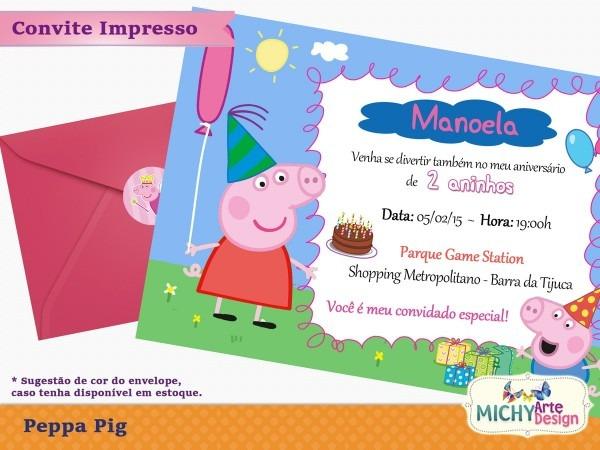 Convite peppa pig no elo7