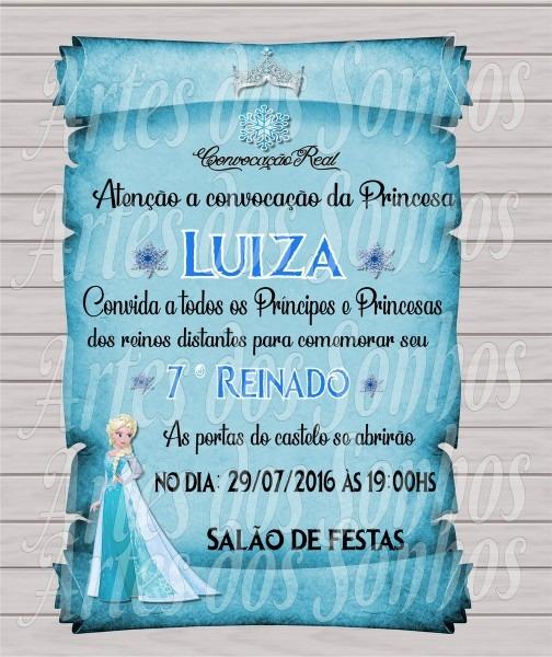 Convite pergaminho frozen elsa no elo7