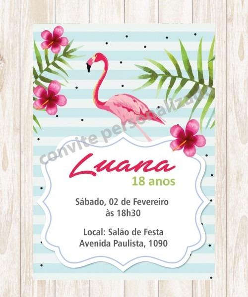 Convite personalizado aniversário tropical flamingo
