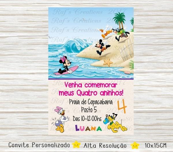Convite pool party mickey e amigos no elo7