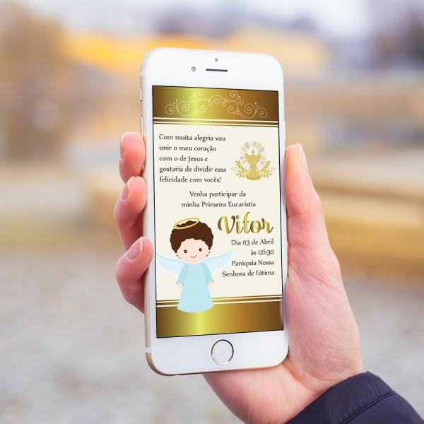 Convite digital primeira comunhão eucaristia dourado mod5 no elo7