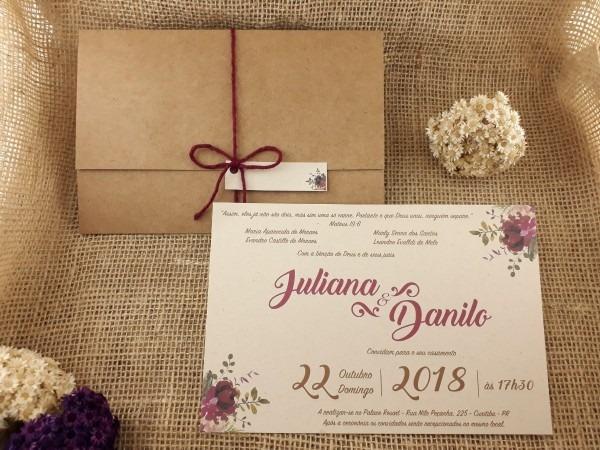 Convite rústico, casamento, papel kraft, 100 unid + tags