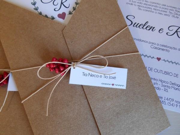 Convite de casamento rústico v01 no elo7
