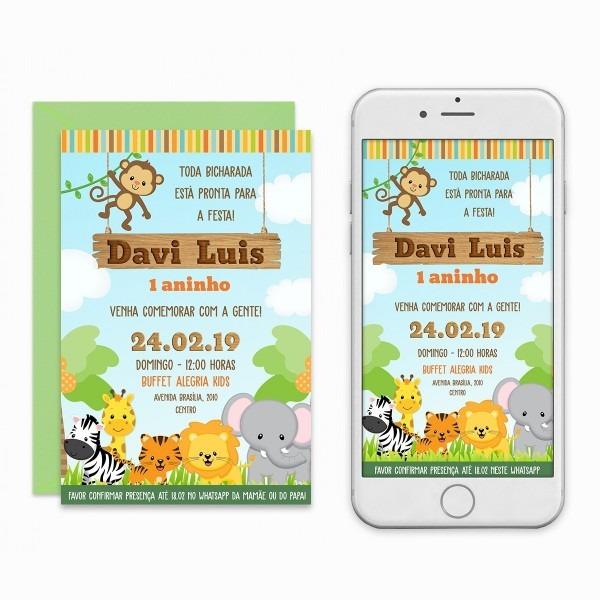 Convite safari menino baby digital virtual imprimir whastapp