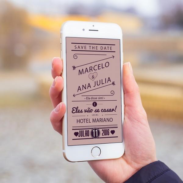 Convite save the date digital casamento whatsapp mod 1 no elo7