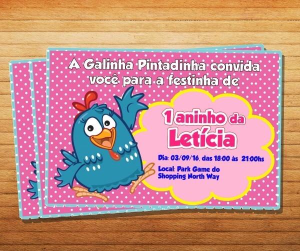 Convite simples galinha pintadinha no elo7