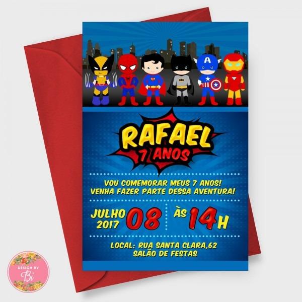 Convite super herói digital whatsapp no elo7