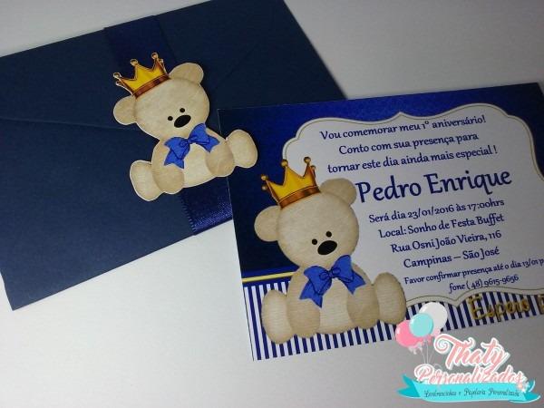Convite urso rei no elo7