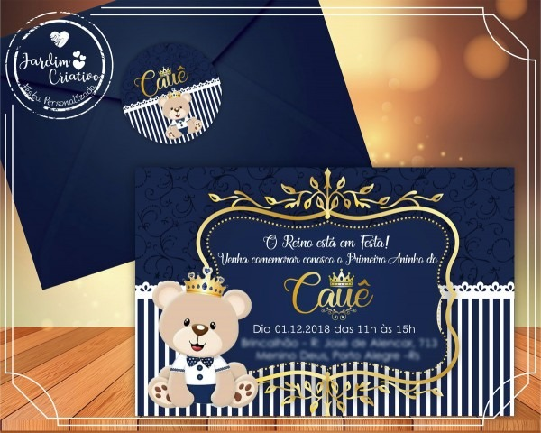 Convite urso rei mod2 no elo7