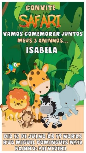 Convite virtual animado aniversário tema   safari