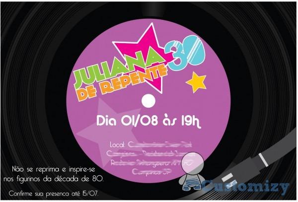Convite virtual anos 80 no elo7