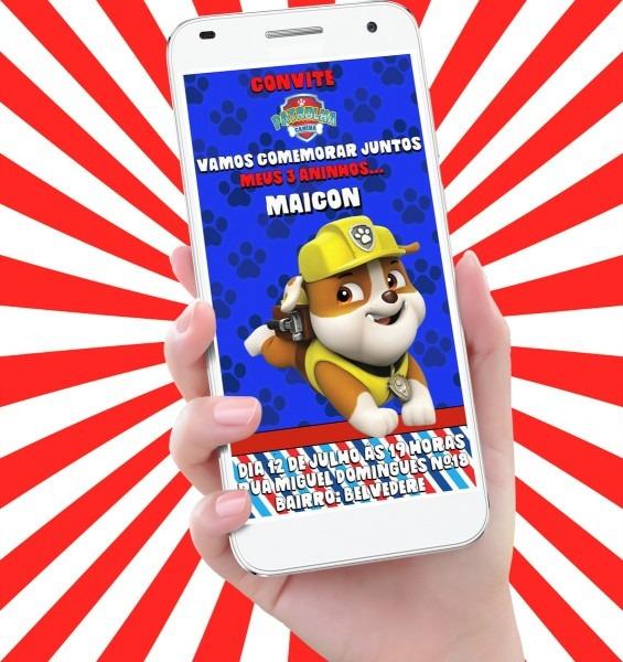 Convite virtual para aniversário   patrulha canina (rubble) no