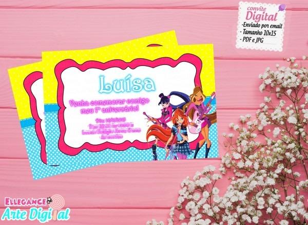 Convite winx (digital) no elo7