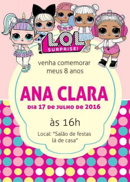 Convite zap (virtual) boneca lol surprise no elo7