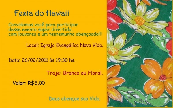 Adolescentes nova vida  festa do havai !