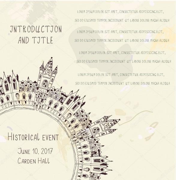 Modelo para o convite de evento histórico com castelo — vetores de