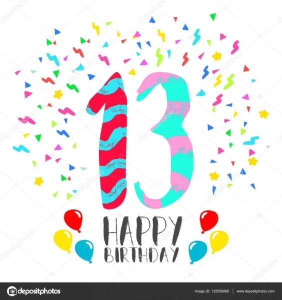 Feliz aniversário para o cartão de convite de festa de 13 anos