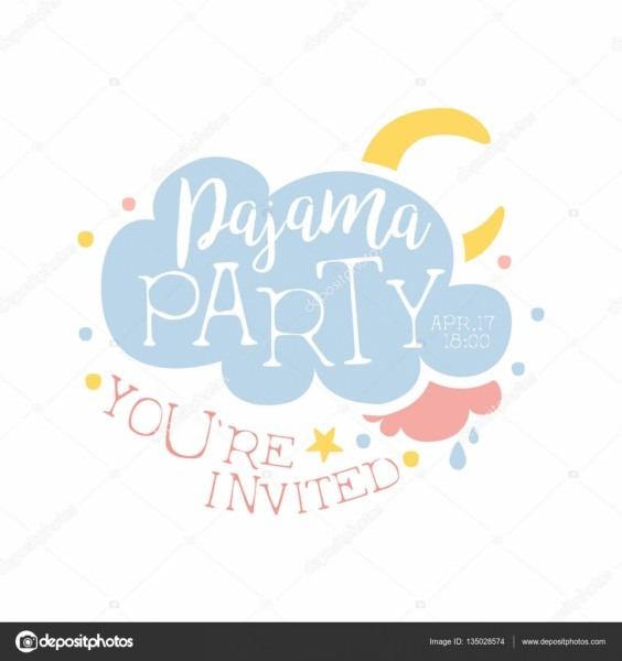 Modelo de cartão de convite para festa do pijama feminino com
